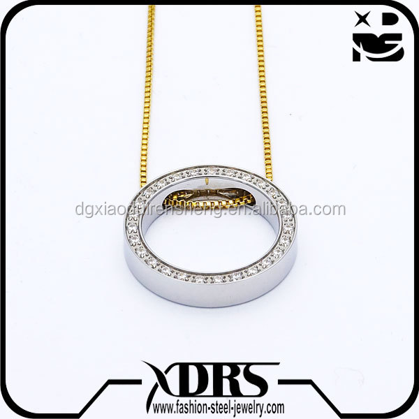 Artificial diamond round ring pendant teardrop shaped necklace pendant