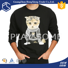 Men black print llama anime cat sweater