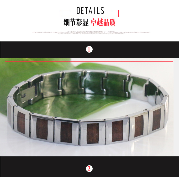 Wholesale Tungsten Koa Bracelet Nature Wood Inlay Bracelet Tungsten Steel Bracelet