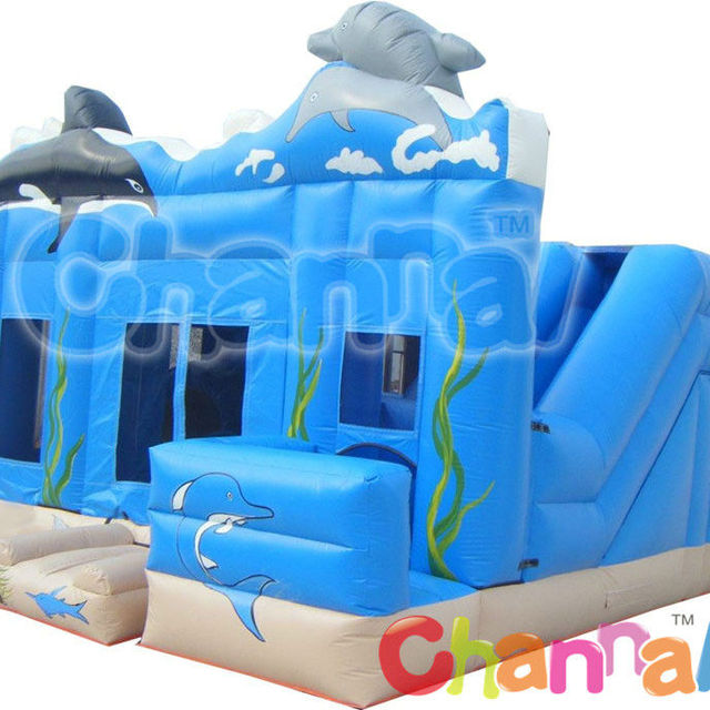 Bouncy Inflatable Dolphin Jumping Bounce House rental