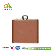 4oz Stainless steel good quality leather wine carrier