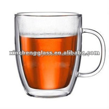 Hot Drink Eco-friendly elegant design double wall glass tea mug cup with handle