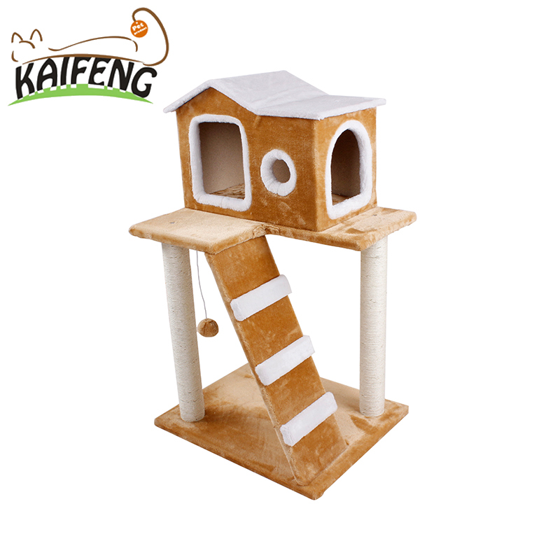 Light Yellow Lucky Cat Tree Houses Two Layers Cat Climbing Shelves