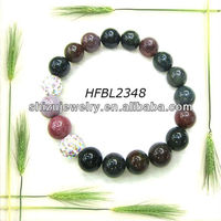 Top fashion design natural stone agate shamballa bead bracelet ninghuiarts