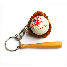 Sublimation printing color Logo baseball keychain, Mini soft 3d sports gym soccer team club tennis ball key chain ring keyring