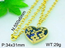 Gold-Plated Beautiful Flower Blue Stone Big Heart Stainless Steel Pendant