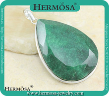 HERMOSA Waterdrop 925 Sterling Silver Jewelry Real Green Emerald Huge Solitaire Necklace Pendants Charms 2015