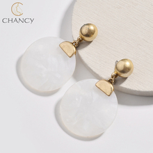 2018 hot sale popular simple round stone pendant earrings for girls and women