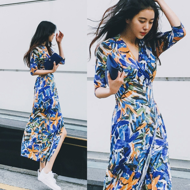 new design ladies suit Korean style fabric paint split sexy casual saree dress women
