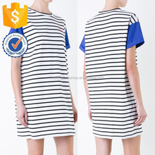 White Striped Blue Short Sleeves New Young Fashion Mini Dresses For Ladies Manufacture Wholesale Fashio Women Apparel (TF1075D)
