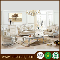 European style carved wooden leather sofa design