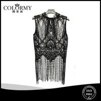 ladies sexy lace blouse two pieces tops round collar sleeveless fringe blouses fashion design