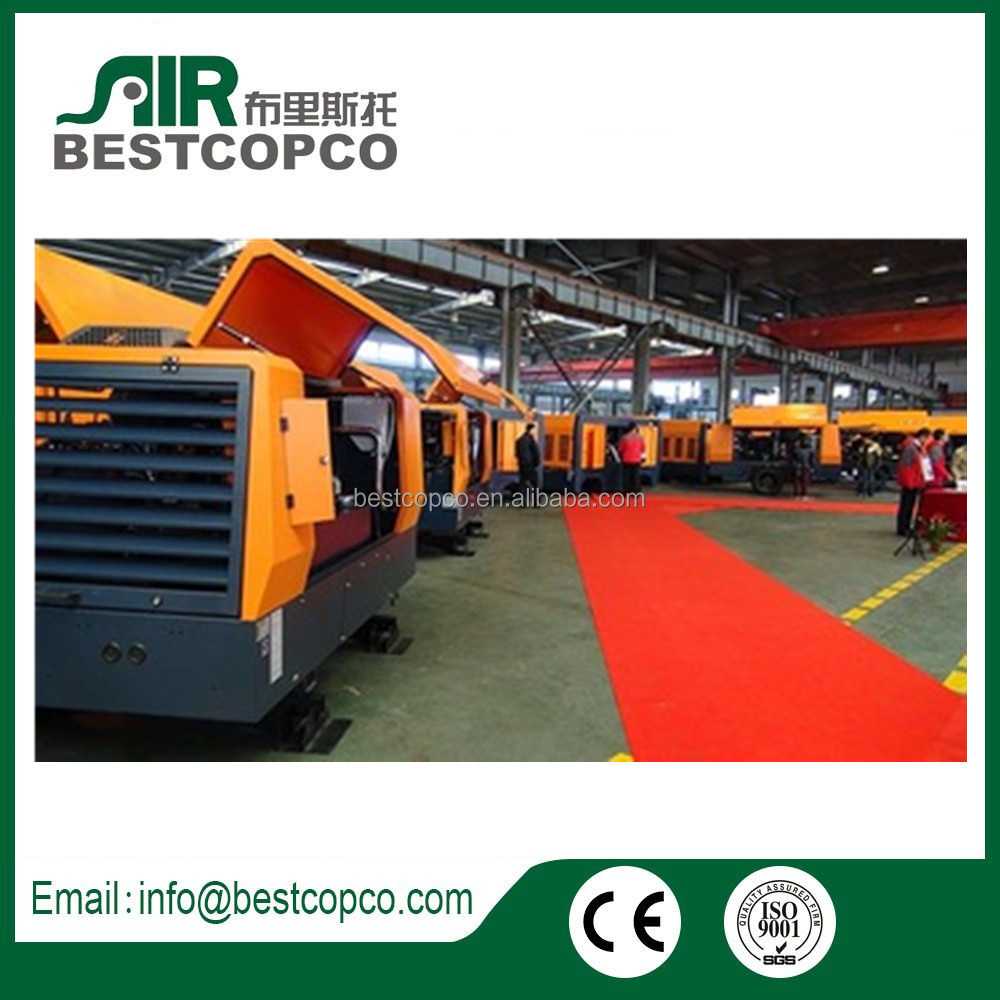 Air Compressor For Mining, Diesel Driven Portable Screw Compressor with drill rig