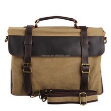 New style canvas business leather laptop bag