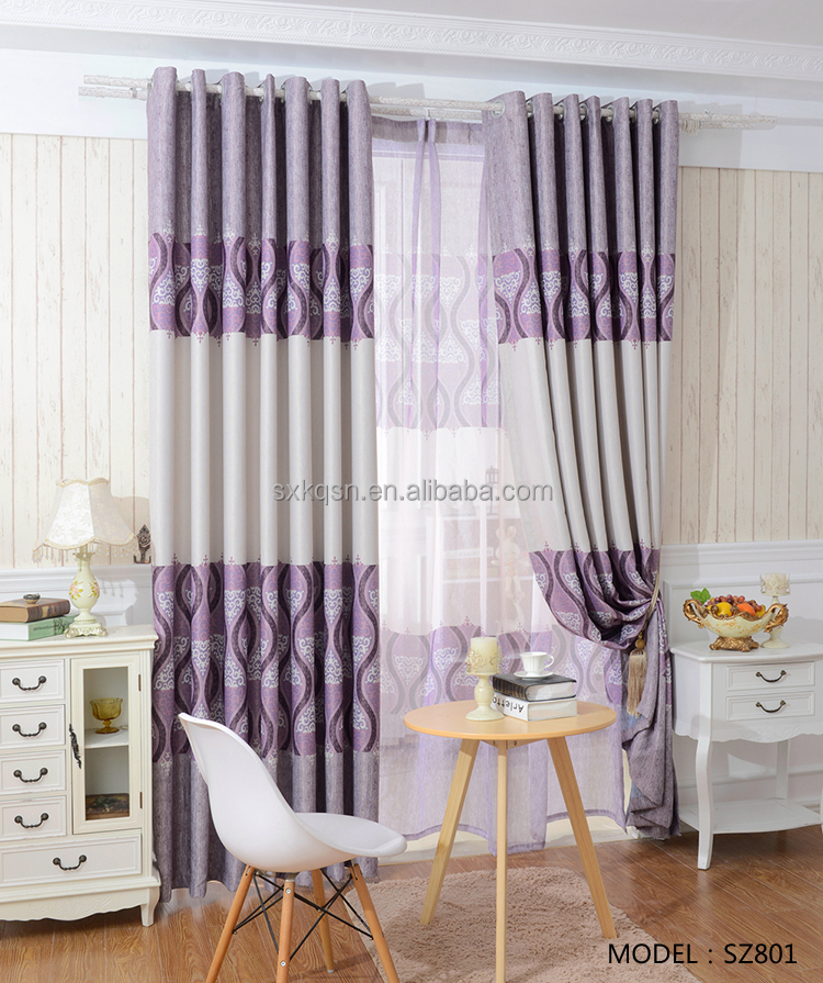 Chinese type style ready made designs curtains for the living room