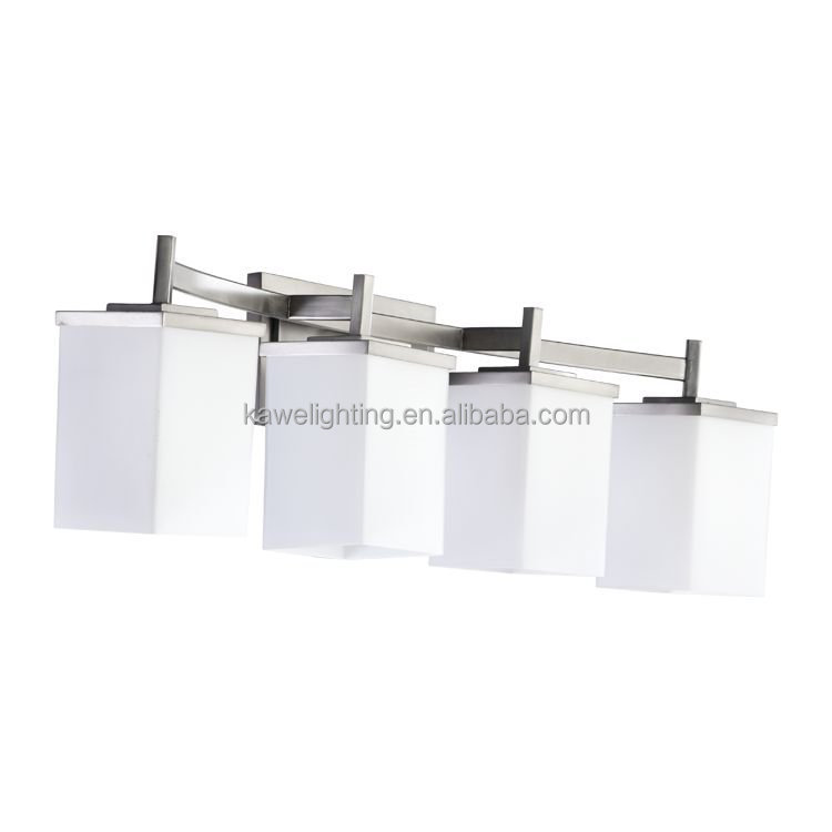 new products 4 Light glass Bathroom Vanity Fixture With Brushed Nickel