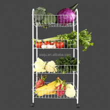 With wheel metal mesh kitchen home goods wire basket shelves