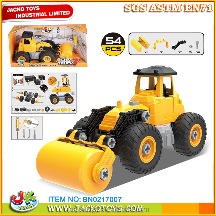 lower MOQ educational toys plastic DIY truck constraction truck set