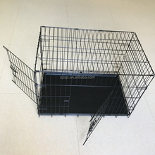 Black Wire Folding Suitcase Pet Dog Cat Crate Cage Kennel Pen w/ABS Tray