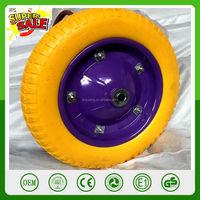 13 14 16 inch color pu solid wheel for wheelbarrow hand truck trolley dolly caster garden tool cart trailer power hard wheels