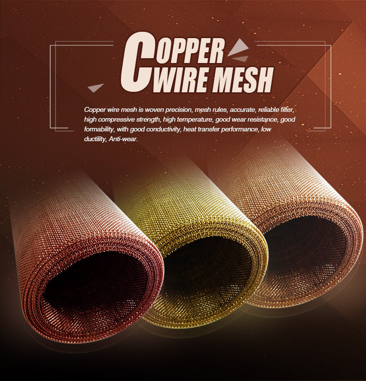 Hot sale faraday cage 40 80 mesh pure red copper wire mesh