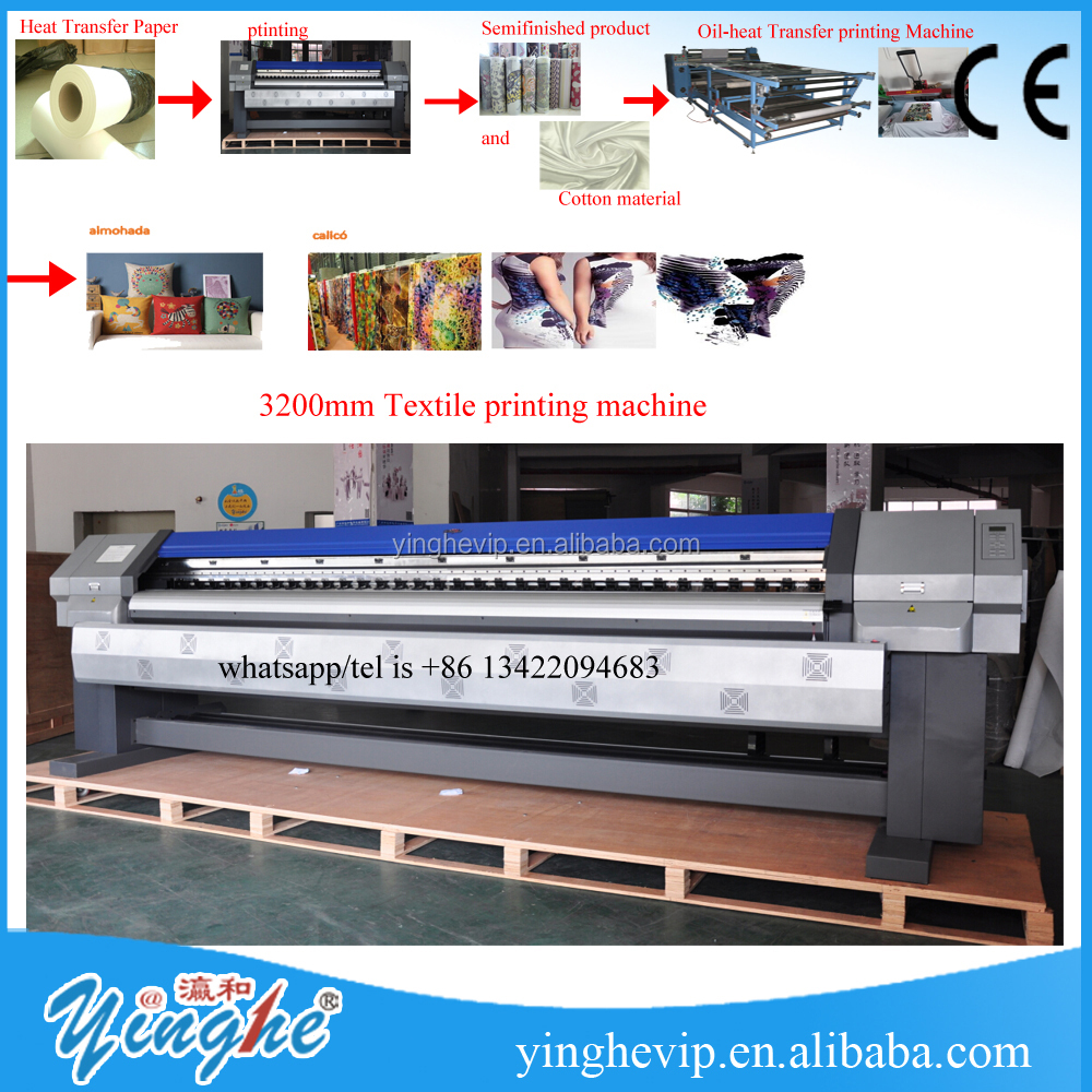 made in china yinghe 3200mm Textile printing plotter machine/digital printer /iInkjet Printers /eco <strong>solvent</strong> printer for sales