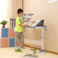 1.2m Kids crank adjustable table and children writing /drawing adjusting desk with small bookshelf