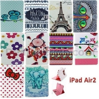 Polka Dots & Red Bowknot Wallet Style Magnetic Flip Stand TPU+ PU Leather Cover for iPad Air 2