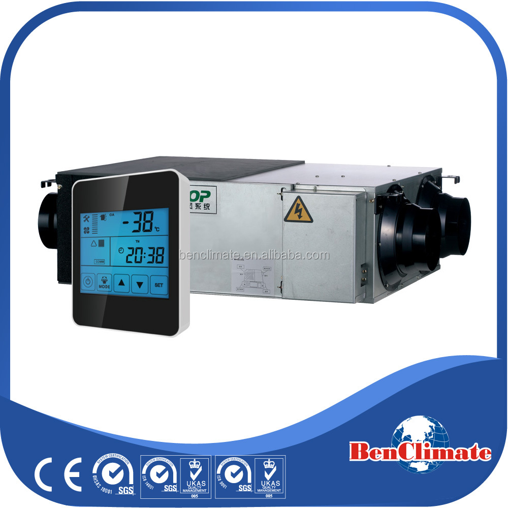 Automatic control silencing operation Energy recovery air ventilation system with two radial fan