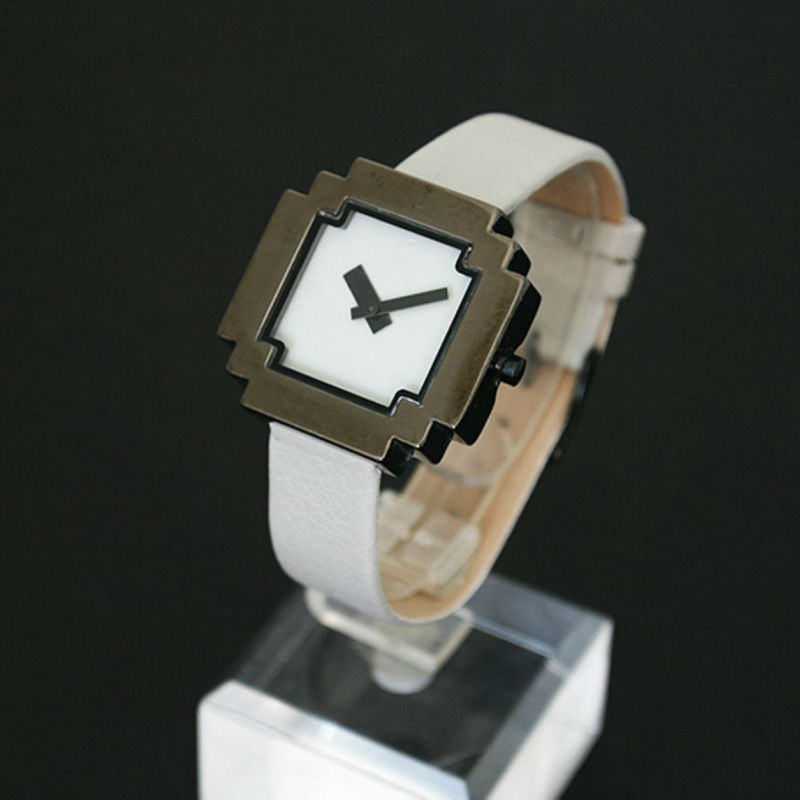 high tech square face digital new style watch white