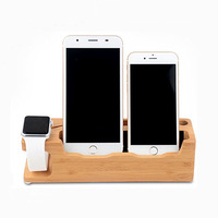 Desk Bamboo Wooden Moblie Cell Phone Docking Station holder Special for Smart Watch/Phone