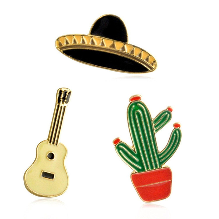 Cartoon Enamel Cactus Guitar Planet Brooch Hat Corsage Pin Set Patches