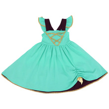 Hippokids ruffle sleeves turquoise soft cotton boutique <strong>girls</strong> party <strong>dresses</strong>- princess inspired <strong>dresses</strong> for <strong>girls</strong>