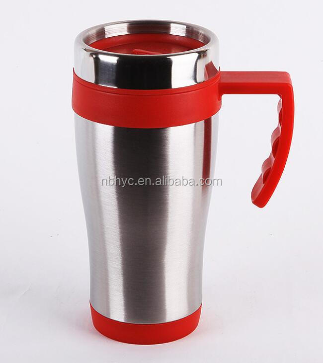stainless steel thermos travel mug with handle,double wall insulated travel coffee tea mug cups, Stainless steel vacuum tumbler