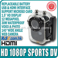 HD 1080p Diving Mini Action Helmet Car Recorder Cam 30M Waterproof Sports Camera