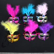 Half Face Feather Light Mask LED Masquerade Women Venetian Fancy Dress Costume Party Masks Cosplay Decoration led masks