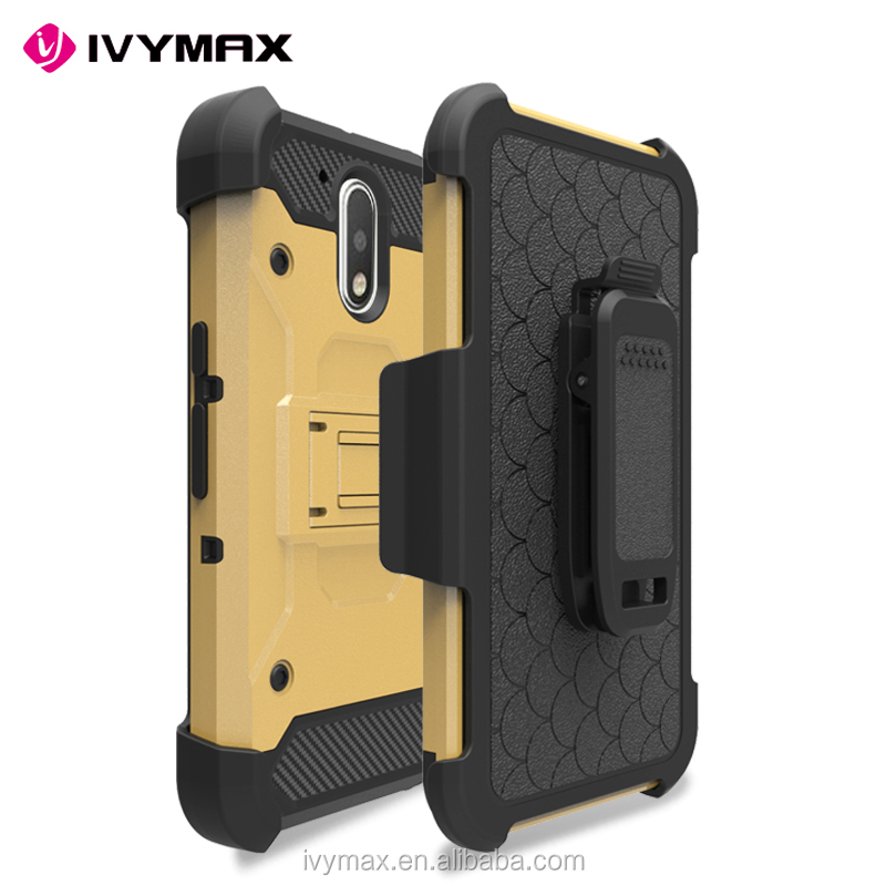IVYMAX full protective back case cover with kickstand for Motorola mot G4 plus