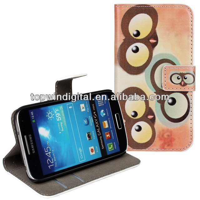 Leather Minion Case for Samsung Galaxy S4 mini i9190 with Credit Card Slots & Holder