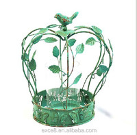 French countryside style decorative metal lantern stand with leaves