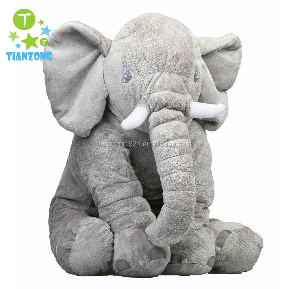 China Wholesale custom made stuffed plush animal toys grey elephant pillow