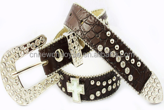 crocodile print leather three buckle sets with cross concons cowgirl belts K2106