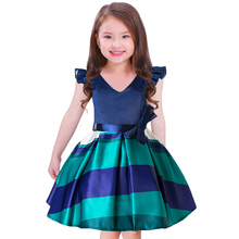 Mitun Top 10 wholesale kids clothing striped baby 12 years old girls wedding dresses