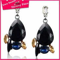 Directly artificial jewellery manufacturer,latest trends women's fashion black acrylic pave diamond earrings
