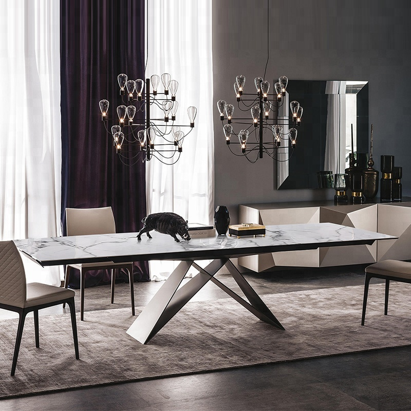 Long Black Power Coated Metal Feet Marble Dining <strong>Table</strong> And Chair Set