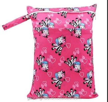Wet Baby For Two Zippers Waterproof Bag, Wholesale Customer Logo With Baby Diaper Washable And Reusable Wet Bag