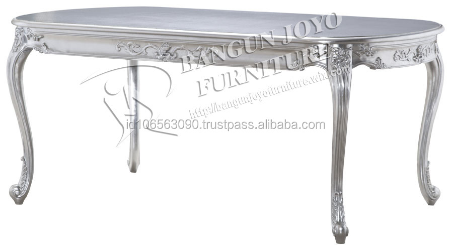 white french dining table with silver antique