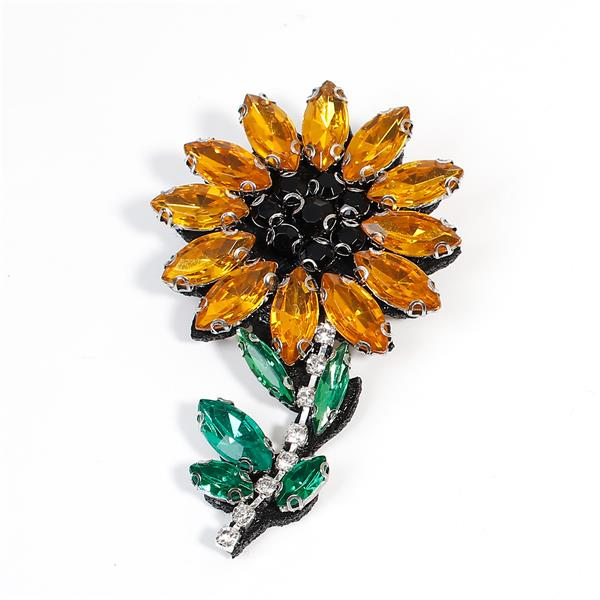 Acrylic Pin Brooches Flower Yellow Green Black Rhinestone Bulk Brooch