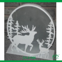 Christmas Holiday white metal candle holder with deer decoration CH-31366