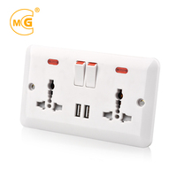 Wall multiple UK power 13amp plug socket outlet with USB port