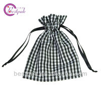 cheap wine bottle plaid drawstring bag
